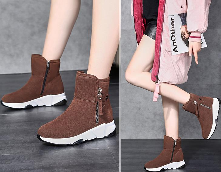 New Fashion Women Boots Snow Boots Sneakers Plush High Top Velvet Cotton Shoes Warm Lace-up Non-slip boots 41