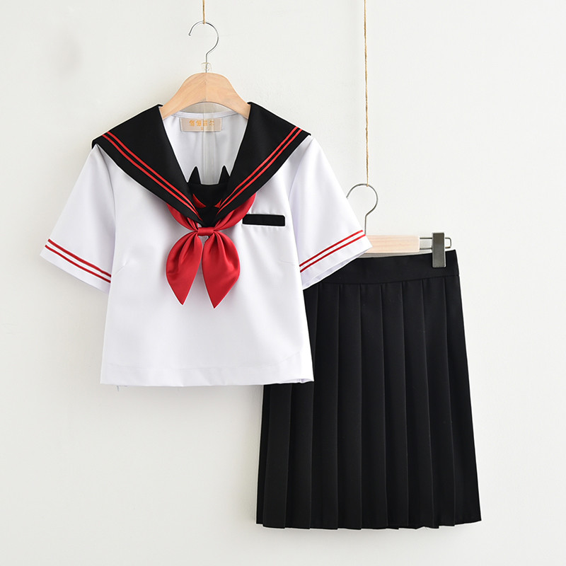 New School Uniform Design For High School Girls Dark Devil Embroidery Japanese Sailor Suit Novelty JK Uniforms