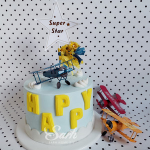 Image 2 - Red Blue Yellow Retro Airplane Cake Decorations Birthday Party Decorations for Baking Cute Gifts