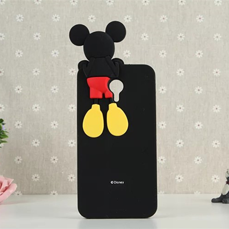 3D Cartoon Mickey Minnie Mouse Soft Silicone Black Color Cover Case for MEIZU M2 Note Meilan Note 2 Fundas Coque Capa