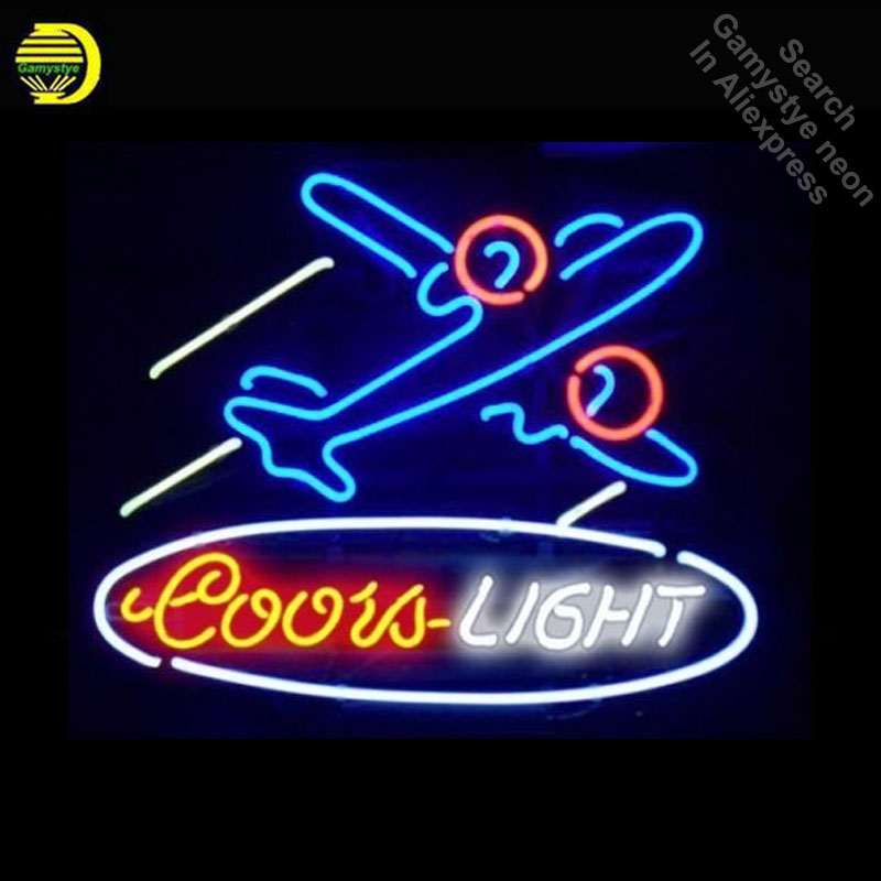 все цены на Neon Sign for Coors Light Airplane Neon Bulb sign handcraft Glass tube Beer Bar Pub decor wall Dropshipping neon bar lights Home