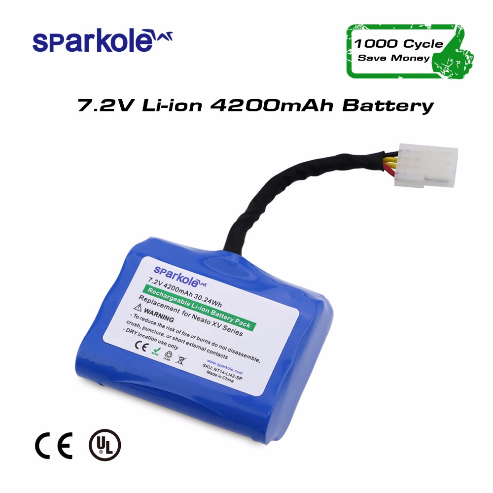 Sparkole 4200mAh High Capacity Vacuum Cleaner Replacement Li-ion Battery for Neato Robotics XV-11 XV-12 XV-14 XV-15 XV-21 XV-25 high quality 2pcs new 21 6v 2800mah rechargable li ion battery for dyson v8 vacuum cleaner