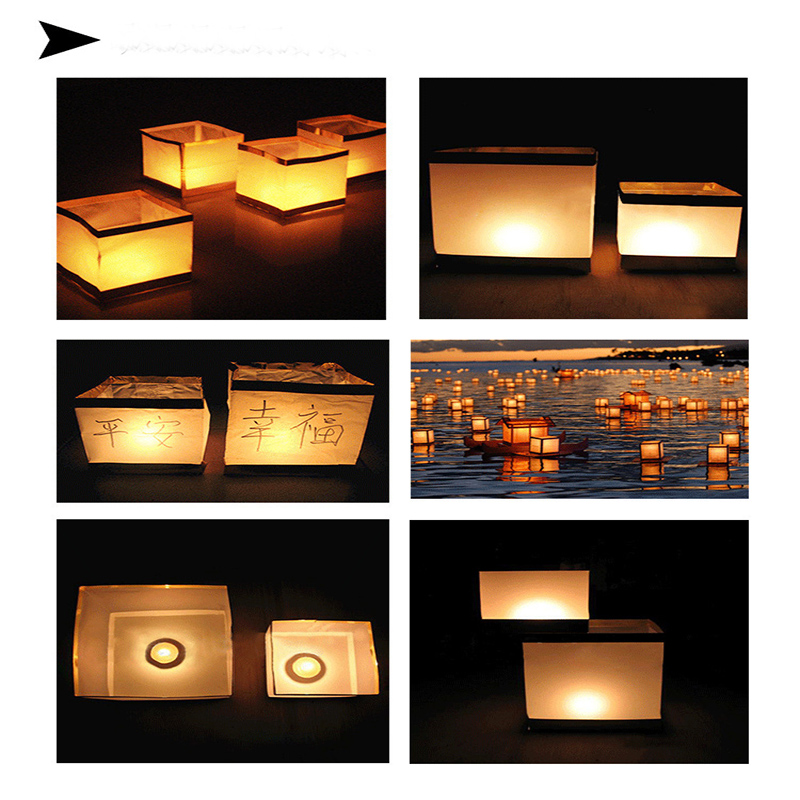 10pcs/lot 15CM Chinese Square Wishing Lantern Floating Water Lanterns Lamp Light With Candle Gold/Silver Color Dropshipping