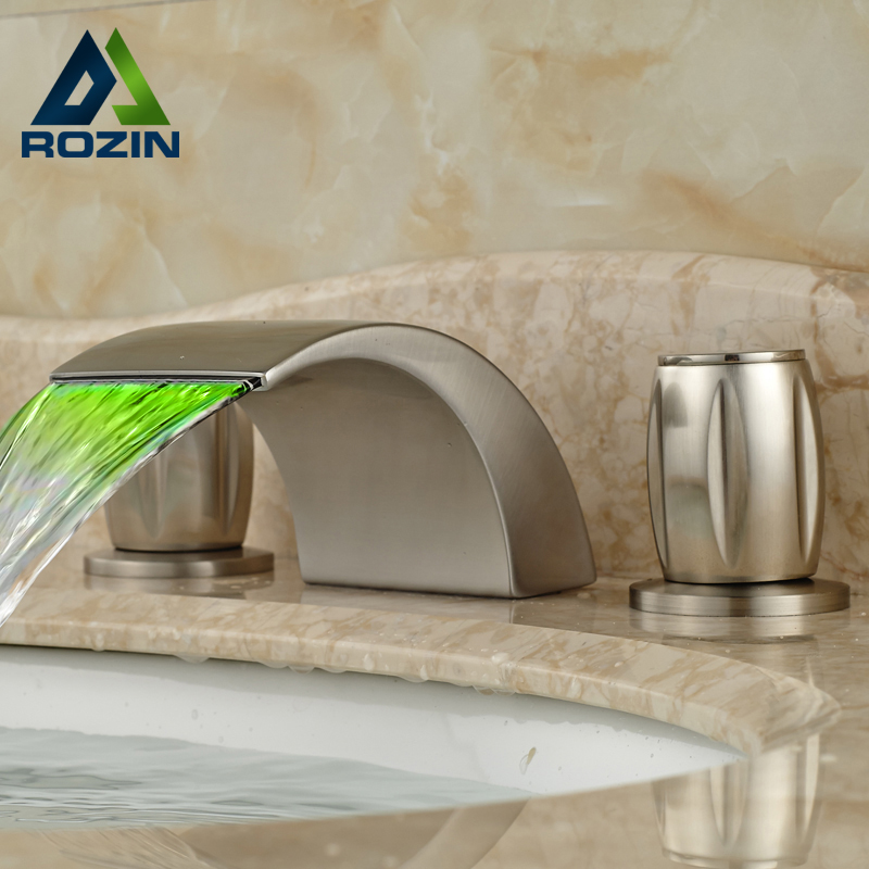 Luxury Deck Mount Widespread Basin Faucet Two Handle Waterfall Spout LED Light Mixer Taps Brushed Nickel Finish