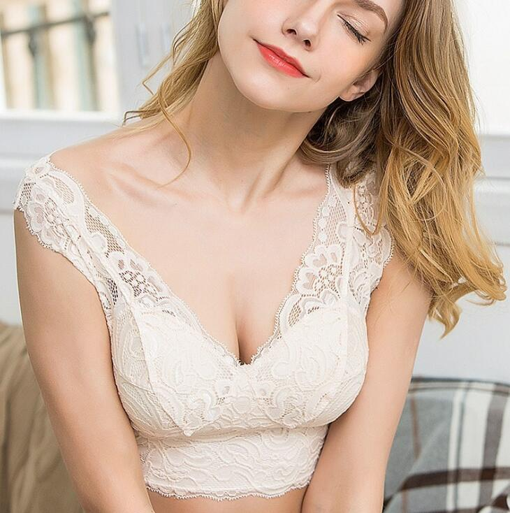 1PC 100% Silk Full Lace Deep V Wireless Bra Bralette Removable Pads SG403