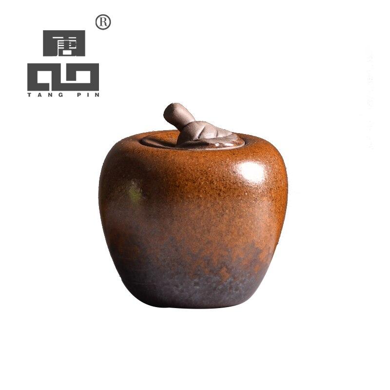 TANGPIN Small Ceramic Tea Caddies Apple Tea Canisters Chinese Kung Fu Tea Accessories