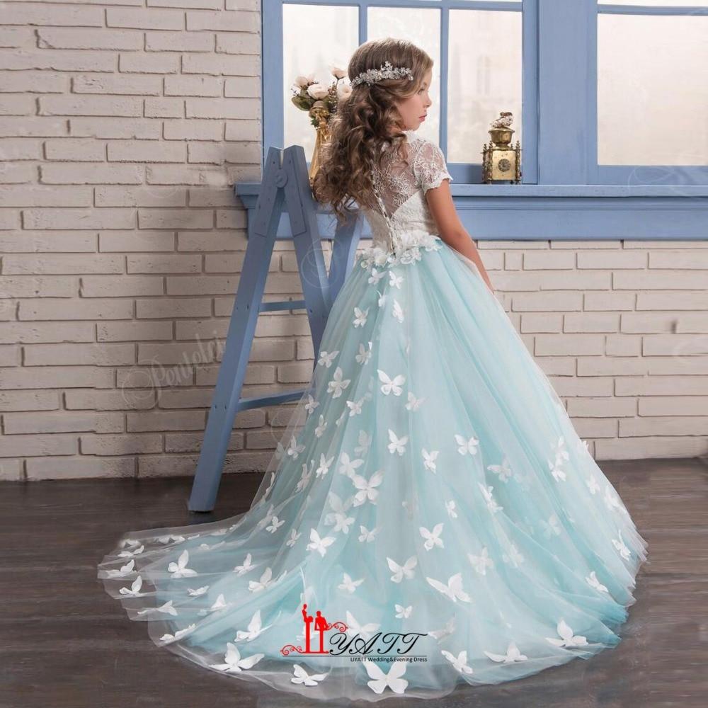 Vintage Mint Floral Lace Arabic 2017 Flower Girl Dresses For ...