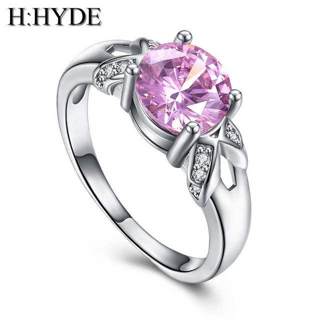 H:HYDE Sweet Pink Cubic Zirconia jewelry wholesale Wedding Engagemenr silver Col
