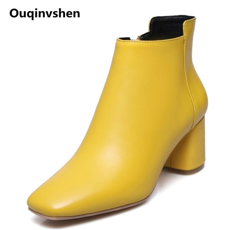 Ouqinvshen Concise Yellow Ladies Ankle Boots Plus Size 34-43 Fashion Square Toe Women Heels Genuine Leather Women Winter Shoes ouqinvshen spherical heel mules shoes round toe plus size 34 43 genuine leather yellow white ladies shoes fashion slippers women