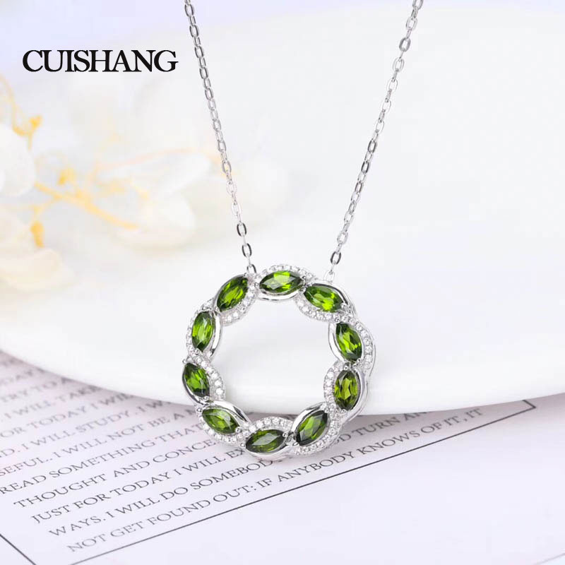 CSJ New design Fine Jewelry pendants 925 Silve Natural Diopside For Women Wedding Engagement Party Valentines giftCSJ New design Fine Jewelry pendants 925 Silve Natural Diopside For Women Wedding Engagement Party Valentines gift