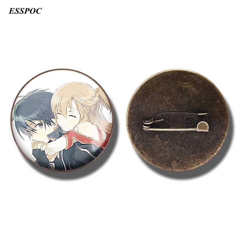 อะนิเมะดาบศิลปะออนไลน์เข็มกลัด Pin Kirigaya Kazuto Yuuki Asuna รูปป้ายแก้ว Cabochon เครื่องประดับของขวัญ