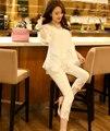 Плюс размер женские летние стиль 2016 бермуды feminina Лето новые эластичные тонкие черные белые кружева леггинсы женский A0852