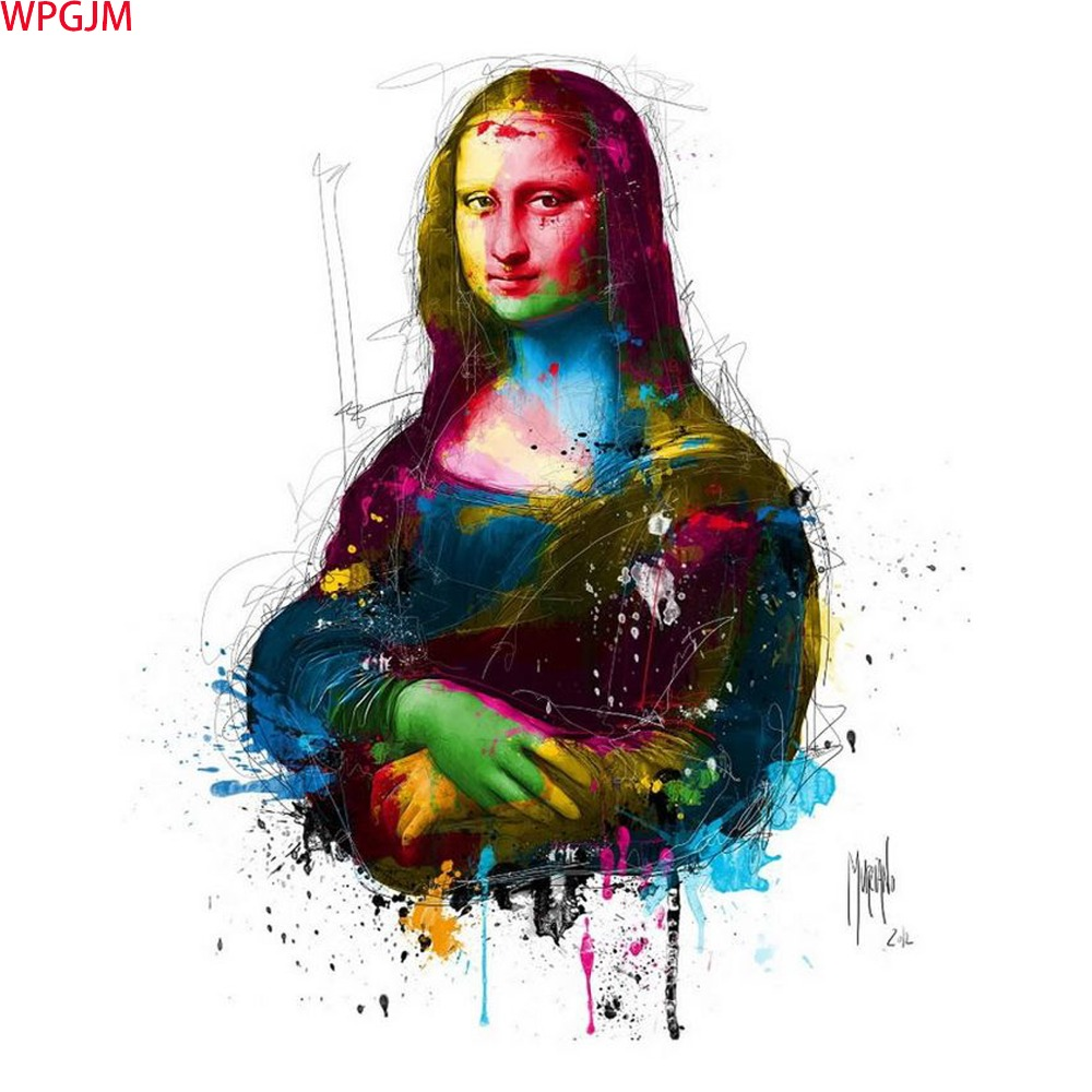 Mona Lisa Abstract  oil Paintings unframed canvas Hand Painted decorative Pictures wall Art Art.