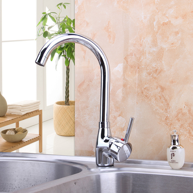 Chrome Finish Brass Kitchen Faucet Hot Cold Water Mixer Tap Bathroom Basin Sink 360 Swivel Deck