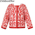 2015 New Fashion Girls Coat Autumn Kids Outwear&Coats O Neck Floral Print European Children Jacket  2-12Y Girl's Outerwear