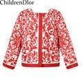 2015 Nuevas Muchachas de La Manera Abrigo de Otoño Niños Outwear y Abrigos O Cuello de la Impresión Floral Europea Chaqueta de Los Niños de la Muchacha 2-12Y prendas de vestir exteriores