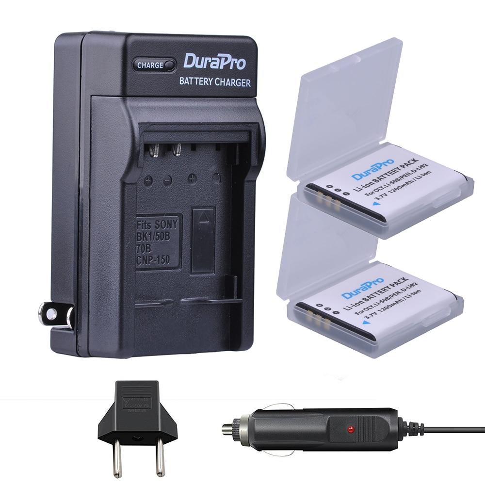 DuraPro 2pc 1200mAh Li 50B D LI92 Li 50B D LI92 Li ion camera Battery Car