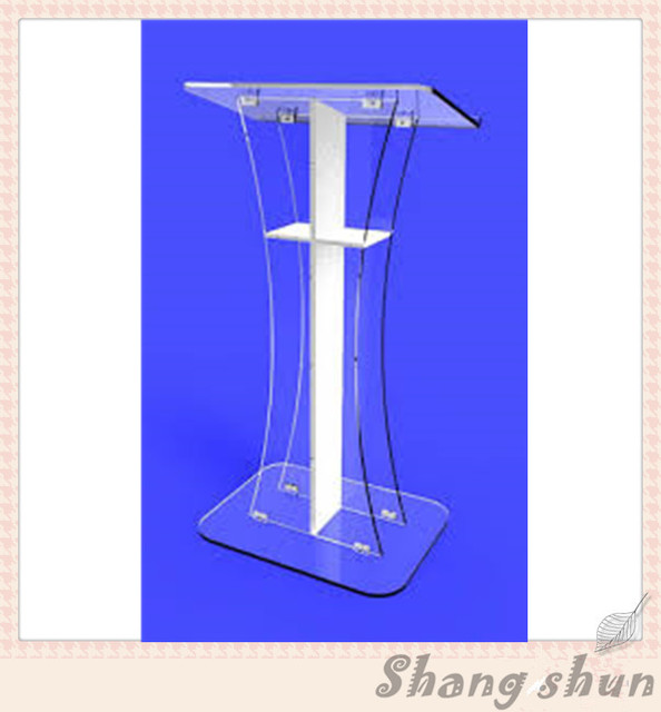 Clear Acrylic Church Pulpit With Cross Clear Acrylic Podium Pulpit Lectern, Plexiglass Lecten