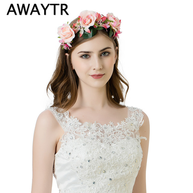 AWAYTR 2017 New Women Girls Wedding Headband Kids Womens Party White Pink Floral Garlands Flower Crown Rose Wreath Hairband