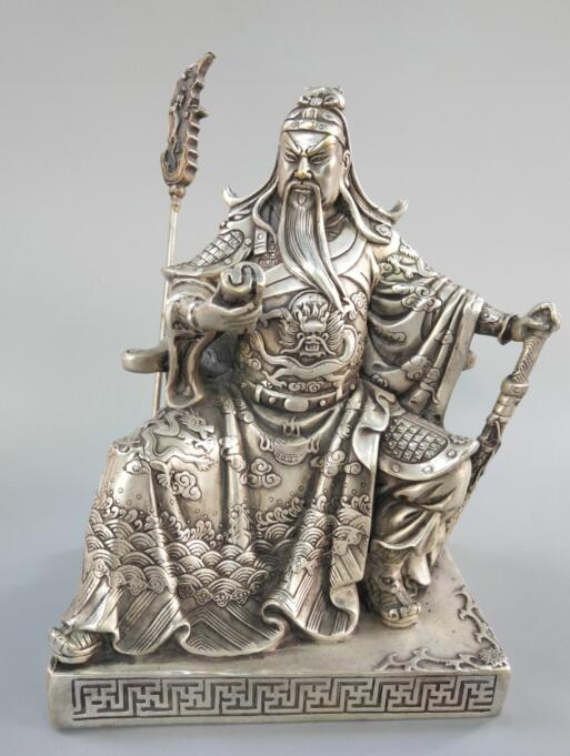 Chinese exquisite white copper guan gong decoration crafts statue