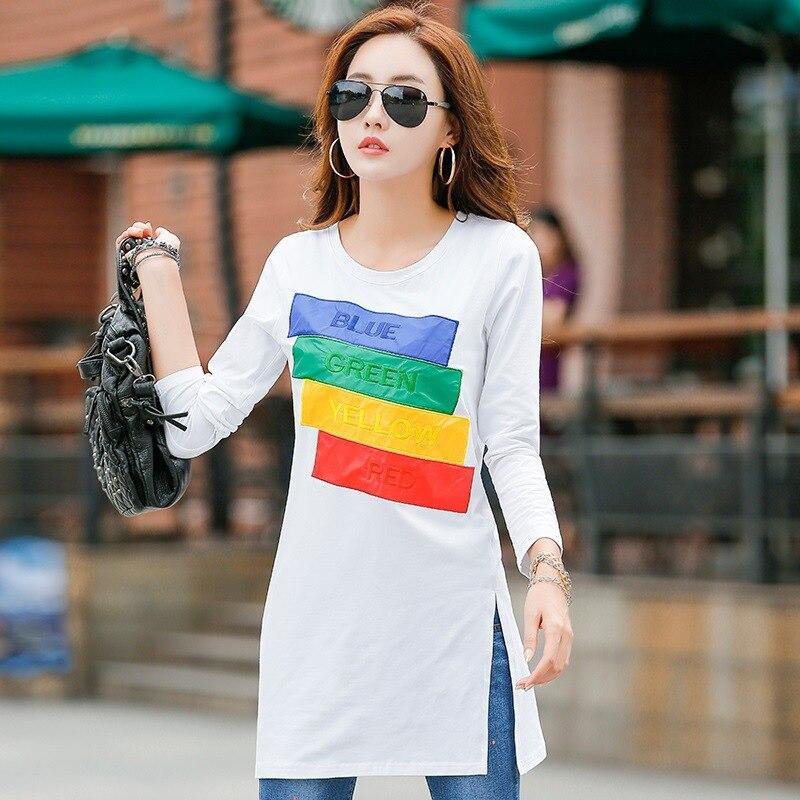 New Winter  T Shirt Long Tunic Tops Long Sleeve T-shirts For Women Fashion Patchwork Cotton Female T-shirt Camisas Femininas
