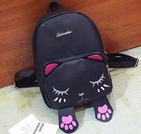 Cat Backpack Ear Women Leather Backpacks Girl School Rugzak Black Cute High Quality PU Backpack LY1894