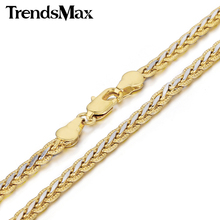 Trendsmax 3/4mm Hammered Braided Wheat Link Yellow White Gold Filled Necklace Womens Mens Chain Fashion Jewelry GN328 GN411