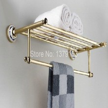 Bathroom Accessory Luxury Golden Gold Color Brass Wall Mounted Bathroom Towel Rail Holder Storage Rack Shelf Bar aba256