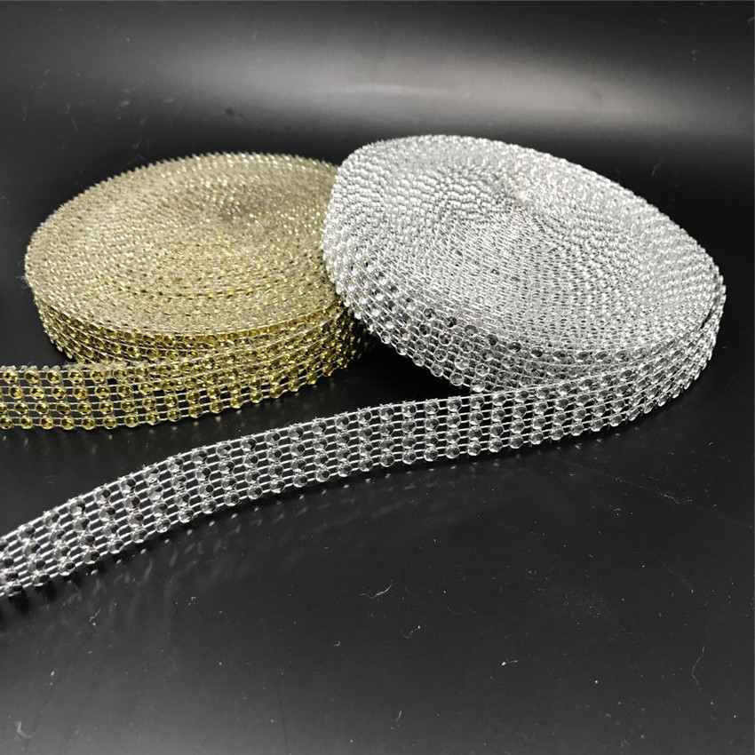 Free Shipping 4rows X10yards Diamond Mesh Rhinestone Wrap