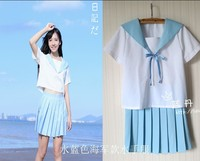School Uniform JK Short Sleeve HARAJUKU Water Blue Sailor Suit Navy Uniforms Set Class Service
