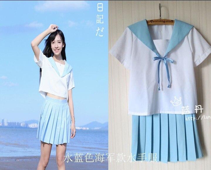 Uniforme scolaire JK à manches courtes HARAJUKU bleu d'eau marin costume marine uniformes ensemble classe service