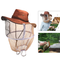 Professional Beekeeping Hat Beekeeper Cowboy Hat Anti Mosquito Bee Insect Veil Net Hat Full Face Neck Wrap Protector