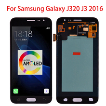 Super AMOLED LCD Display For Samsung Galaxy J3 2016 J320 J320A J320F J320P J320M J320Y J320FN Screen Touch Digitizer new 100% test lcd touch screen glass digitizer frame for htc one m9 silver with free tools tempered glass