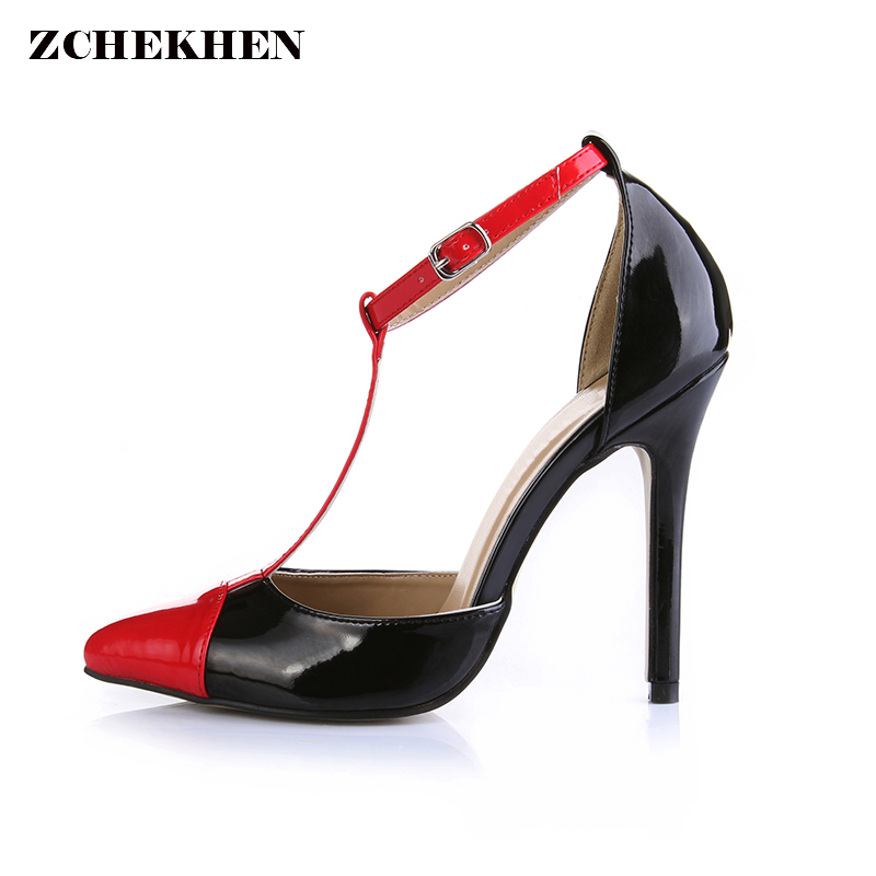 Fashion Red Pointed Toe High Heels Summer Shoes Elegant T-Strap Party Pumps Stiletto Sexy 12CM Thin High Heel Ladies Shoes 35-43 new spring pumps fashion sexy slim thin high heels suede belt buckle shallow pointed high heeled shoes elegant stiletto g2586 35