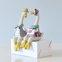 2 قطع تزيين المنزل الرعوية الراتنج التماثيل زوجين بطة نموذج الأثاث اليدوى الزفاف الميلاد هدية الحرفية المنمنمات