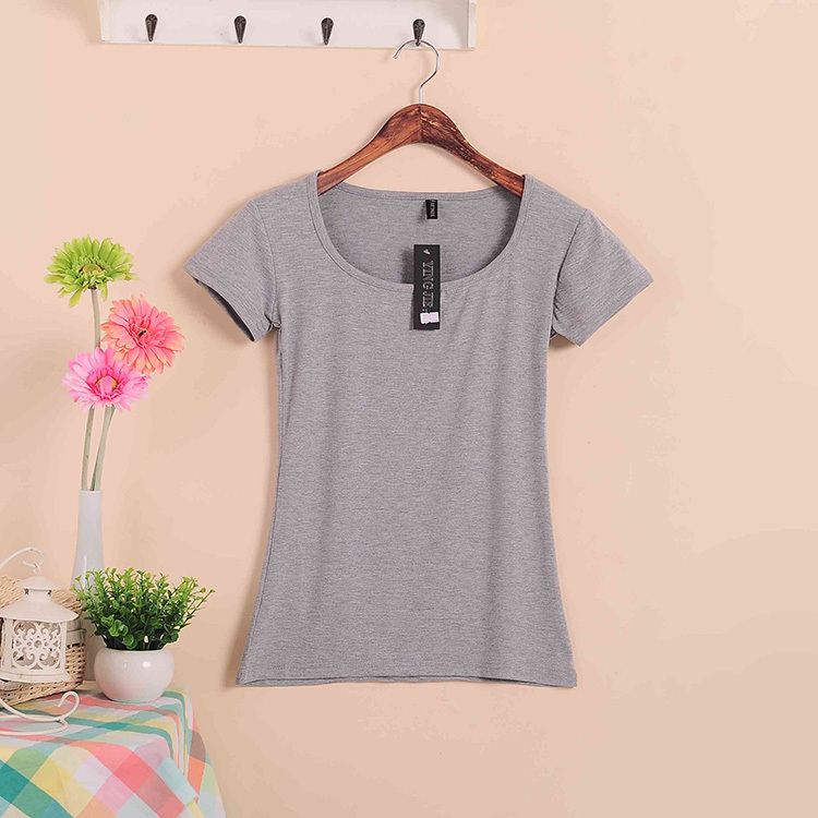 Базовые Стрейчевые топы размера плюс,, Летний стиль, короткий рукав, футболки для женщин, u-образный вырез, хлопок, женские футболки, повседневные футболки - Цвет: W00630 gray