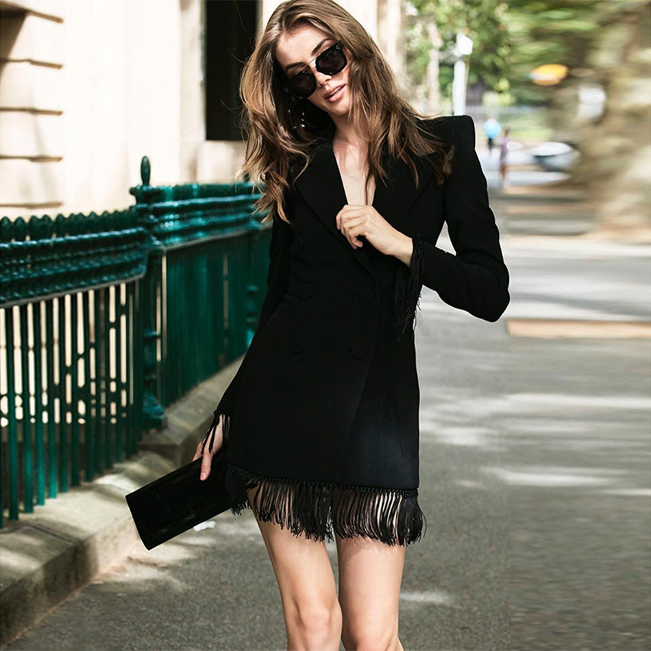 Women Suit High-end Tassel Leisure Suit  Woman 2019 New Tassel Small Suit Black Purity Sexy Party Casual Button Tassels