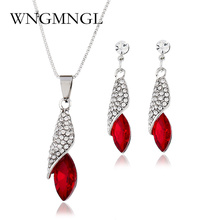 WNGMNGL New Red Blue White Water Drop Jewelry Sets Alloy Crystal Necklace & Earrings Wedding Jewelry For Women Bride Party Sets цены онлайн