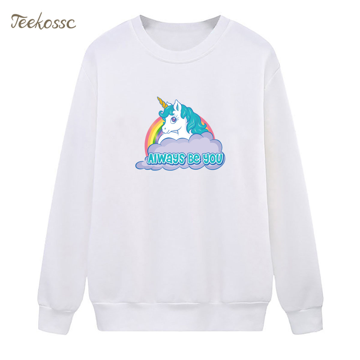 Rainbow White Horse Sweatshirt Alway Be You Hoodie 2018 Winter Autumn Women Lasdies Pullover Fleece Warm Loose Cute Streetwear
