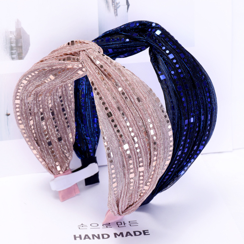 2019 Vintage Mesh Sequin Lace Hair Bands For Women Knot Girls Hairband Headband Hair Accessories Haar Haarband Bandeau Cheveux