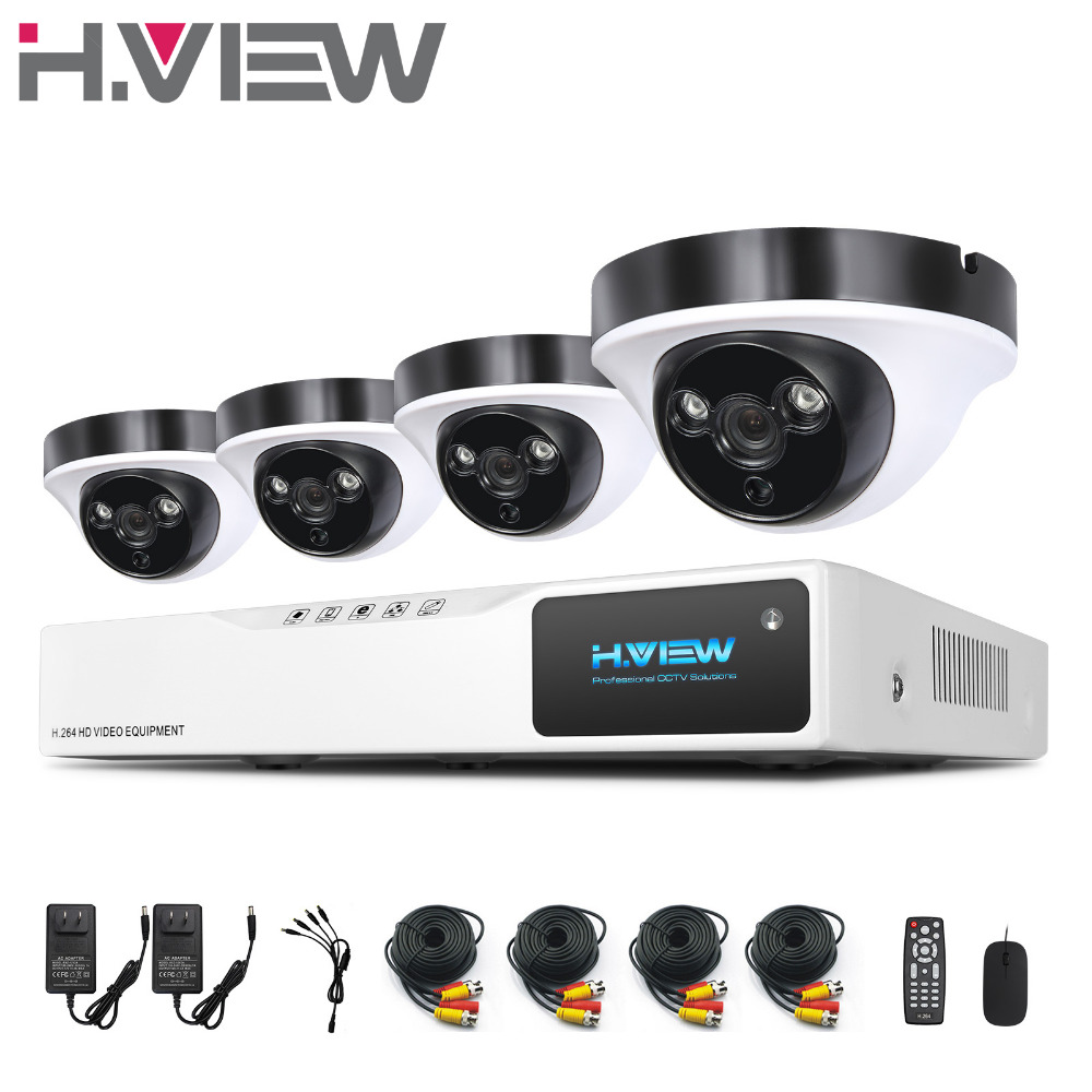 H.View 8CH AHD DVR 4PCS 2.0MP IR Night Vision Outdoor Indoor CCTV Camera 2 Array LEDs Home Security CCTV System Surveillance Kit sannce 8ch 720p ahd dvr 4pcs 1200tvl ir night vision outdoor cctv camera 24 leds home security cctv system surveillance kit