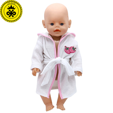 Baby Born Doll Clothes Blue White Nightgown Robe Doll Bathrobes Fit 43cm Zapf Baby Born Doll