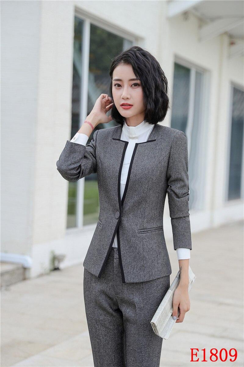 Pantalons Ensembles Gris Veste Femmes Bureau Conceptions D'affaires Dames Noir Vêtements gris Blazer Wear Costumes Et Work Formelle Uniforme nd0pYExn