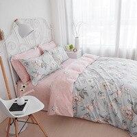 Casa tessili di cotone stampa floreale 4 set di biancheria da letto king size twin copripiumino queen size lenzuola set spedizione gratuita