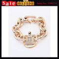 Statement  Gold Plated Simple Geometric Twisted Bib Chunky Chain Metal Crown Wide Spring Cuff Bracelets Bangle for Man Gift