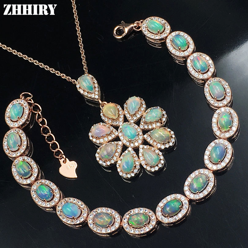 ZHHIRY Natural Fire Opal Gem Jewelry Set Solid 925 Sterling Silver Genuine Stone Women Necklace Bracelet Sets Charm Fine Jewelry