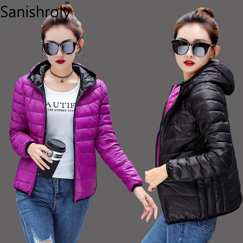 Sanishroly 2018 Double   Coat   Female Hooded White Duck   Down     Coats   Women Ultra Light   Down   Jacket Short Outwear Plus Size M-4XL S272