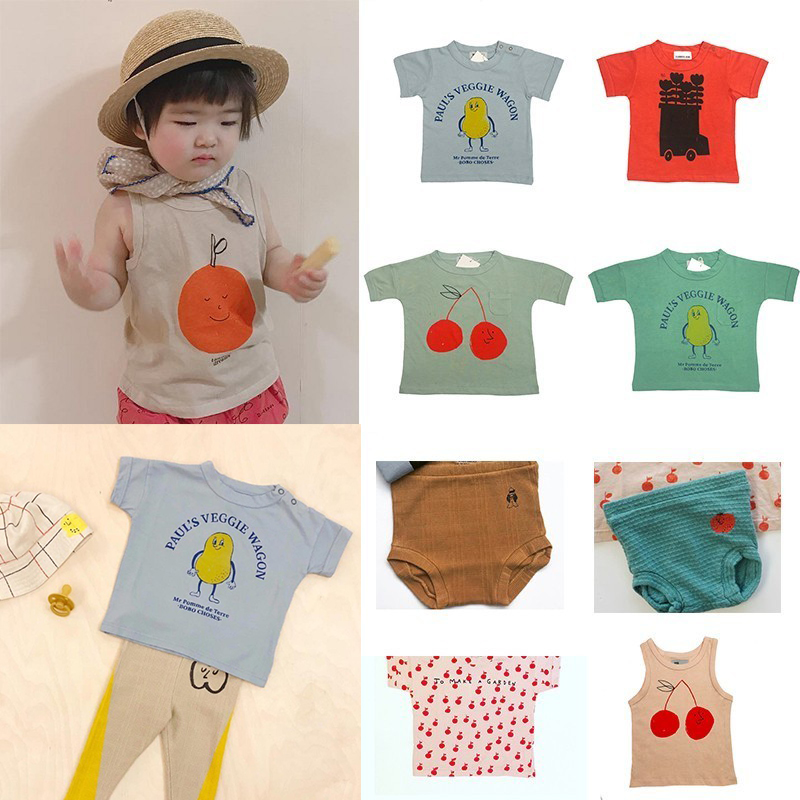 On Stock Kids T Shirts 2019 BC Summer Boys Girls Cherry Print Short Sleeve T Shirts Baby Child Cotton Fashion Tops Tees Clothes