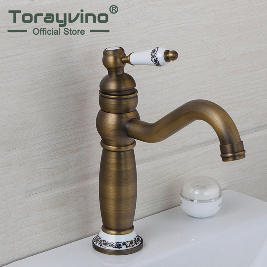 Torayvino Luxury Classic Antique Brass Faucet Deck Mounted  Single Handle Single Hole Hot Cold Water Mixer Eminent Basin Faucet