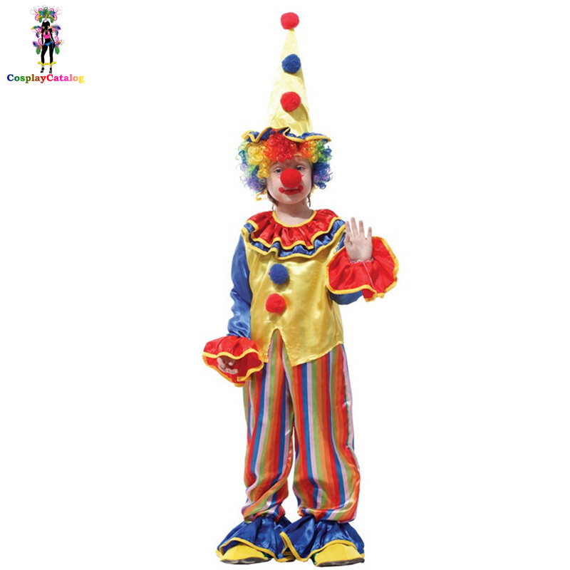 Harlequin Clown Costume For Children,Funny Kids Circus Clown Costumes,Naughty Boy/Girl Jester Uniforms Fancy Child Clothing